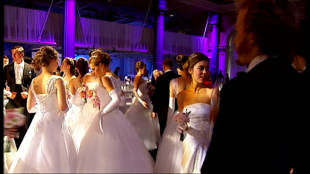 russian debutante ball takes place in london reporter to camera debutantes chatting reporter to camera - debutante stock videos & royalty-free footage