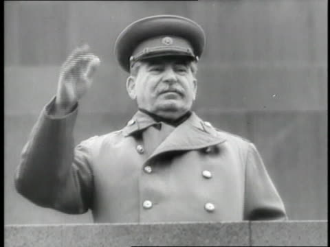 russian dictator joseph stalin waves from a balcony - dictator stock videos & royalty-free footage