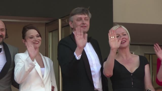 russian director sergei loznitsa and actors vaselina maroveseva and valeriu andriuta walk the red carpet at the cannes film festival at the premiere... - fyodor dostoevsky stock videos & royalty-free footage