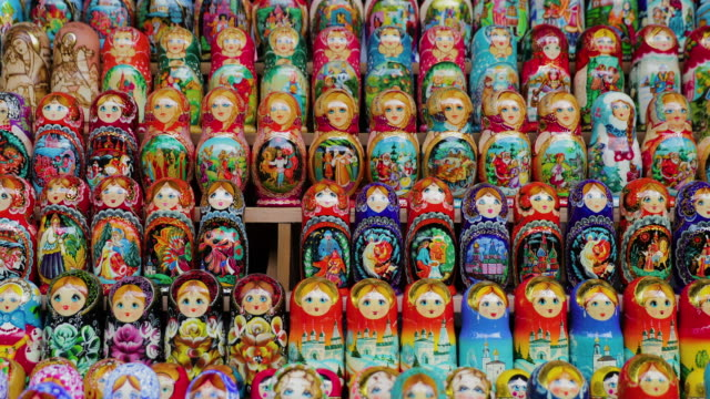 russian dolls, izmailovsky market, moscow, russia - souvenir stock videos and b-roll footage