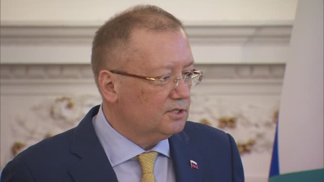 russian embassy press conference re syrian air strikes cyber security and salisbury poisoning alexander yakovenko qa session continued sot - q and a stock videos & royalty-free footage