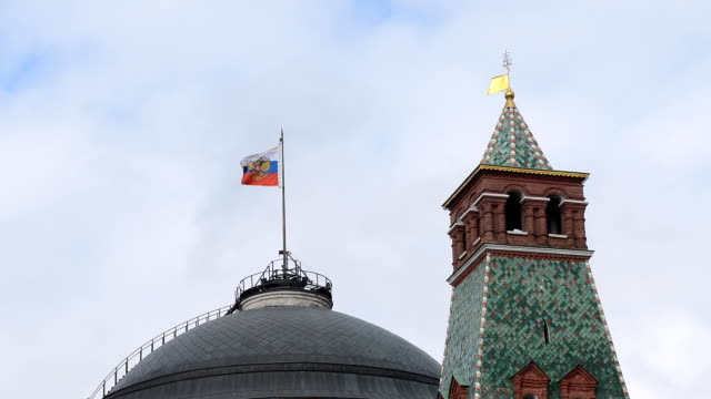 Russian flag fluttering on Kremlin roof, Moscow, Russia