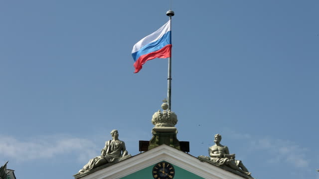 russian flag hermitage - russia stock videos & royalty-free footage
