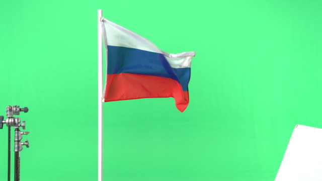 Russian flag on green screen