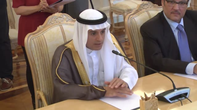 russian foreign minister sergei lavrov and saudi arabian foreign minister adel bin ahmed al-jubeir attend a press conference after their meeting at... - minister clergy stock videos & royalty-free footage