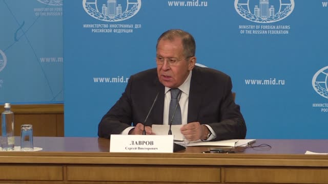 Russian Foreign Minister Sergei Lavrov gives annual report at press conference in Moscow on Monday