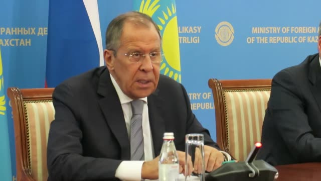 russian foreign minister sergei lavrov holds a press conference with his kazakh counterpart mukhtar tileuberdi in nur sultan kazakhstan on october 09... - nur sultan stock videos and b-roll footage