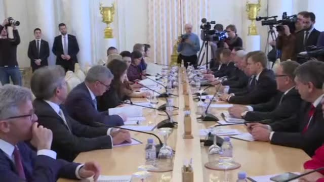 russian foreign minister sergei lavrov meets his austrian counterpart karin kneissel in moscow - traditionally austrian stock videos and b-roll footage
