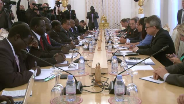 russian foreign minister sergei lavrov meets south sudan's foreign minister barnaba marial benjamin and sudanese foreign minister ibrahim ghandour... - 2015 stock videos & royalty-free footage