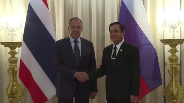 Russian Foreign Minister Sergei Lavrov meets with Thai Prime Minister Prayut Chan O Cha at Government House in Bangkok