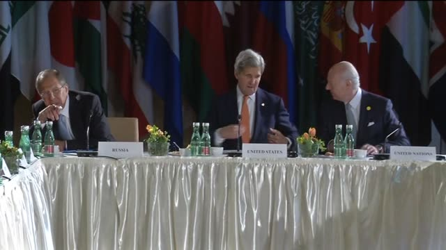 Russian Foreign Minister Sergei Lavrov US Secretary of State John Kerry United Nations Special Envoy for Syria Staffan de Mistura chair the...