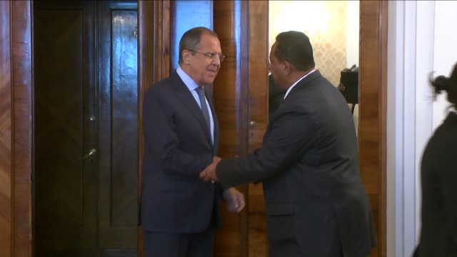 russian foreign minister sergei lavrov welcomes south sudan's foreign minister barnaba marial benjamin and sudanese foreign minister ibrahim ghandour... - 2015 stock videos & royalty-free footage