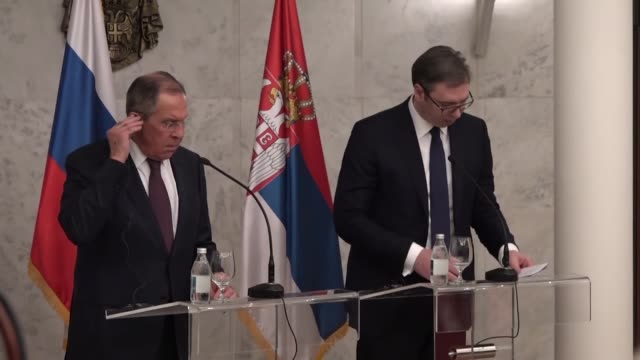Russian Foreign Minister Sergey Lavrov and Serbian President Aleksandar Vucic hold a joint press conference after their meeting in Belgrade Serbia on...