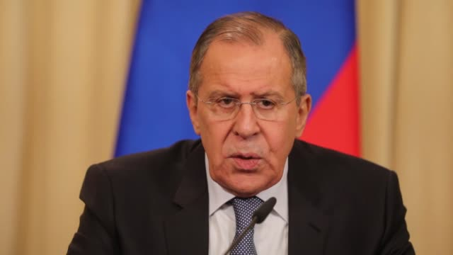 vidéos et rushes de russian foreign minister sergey lavrov rejected on april 20 2018 us comments that ankara risked sanctions over its purchase of russian s400 air... - conspiration