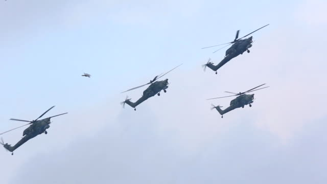 Russian helicopters for military exercises