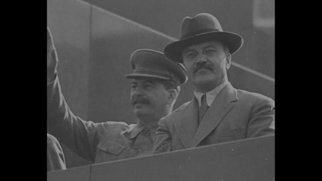 russian leader joseph stalin and statesman vyacheslav molotov on balcony / note exact day not known - vyacheslav m. molotov stock videos and b-roll footage