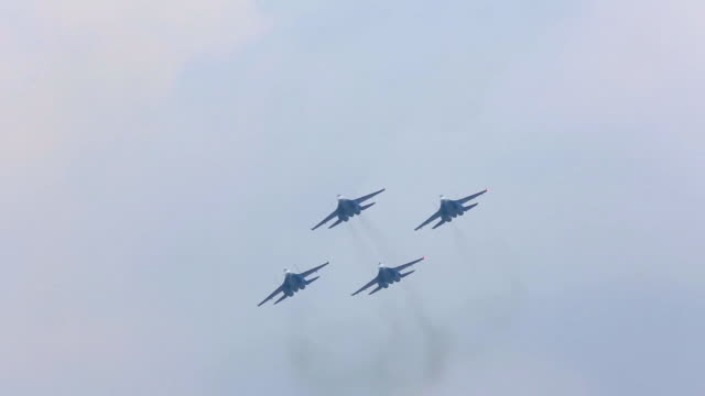 russian military aircraft military exercises - airshow stock videos & royalty-free footage