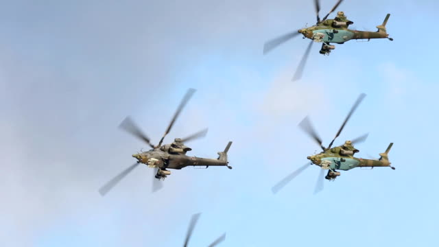 russian military helicopters - military exercise stock videos and b-roll footage