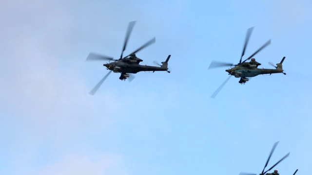 russian military helicopters - helicopter stock videos & royalty-free footage