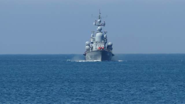 russian missile boat in the open sea - warship stock videos & royalty-free footage