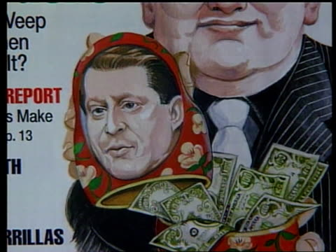 vídeos y material grabado en eventos de stock de russian money laundering scandal; lib mat held bureau vice-president al gore exchanging copies of treaty with then russian federation prime minister... - gore