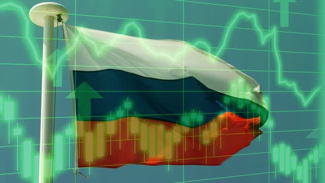russian national flag with positive growth chart and graph data. concept piece to indicate improving gdp, stock market crash, recession, depression, inflation, deflation, bull market, good national, economic and business performance - bull market stock videos & royalty-free footage