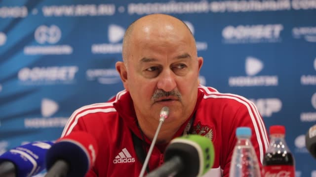 russian national football team coach stanislav cherchesov and goalkeeper marinato guilherme speak during a press conference ahead of the uefa nations... - soccer goalkeeper stock videos & royalty-free footage