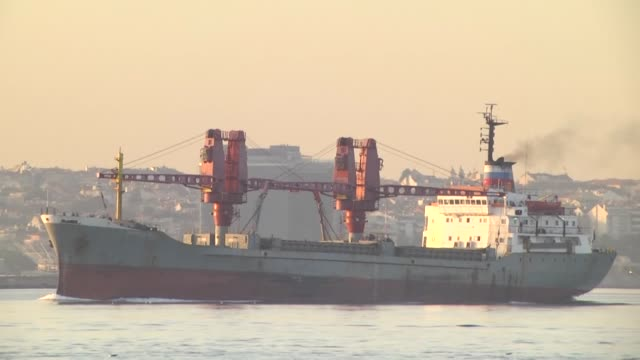 russian navy cargo ship dvinitsa50 passes through the bosphorus strait in istanbul turkey on june 17 2016 - bosphorus stock videos & royalty-free footage