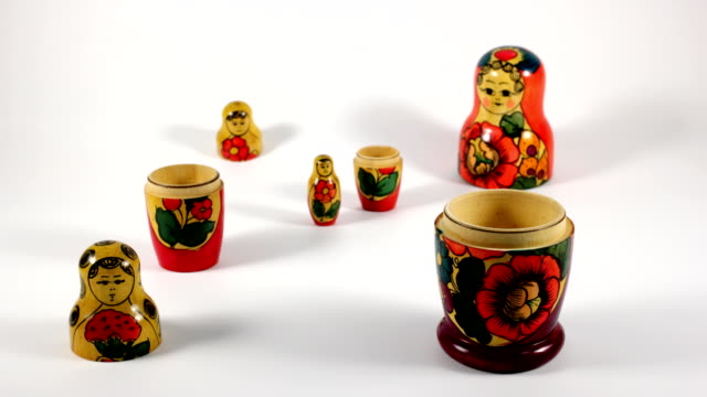 russian nesting doll - group of objects stock videos & royalty-free footage