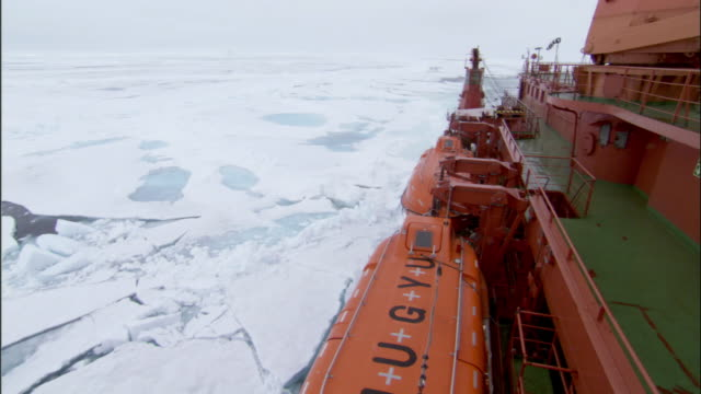 REAR POV, Russian nuclear icebreaker traveling through broken pack ice, Russia