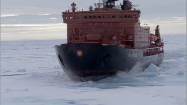 ms, russian nuclear icebreaker traveling through frozen sea russia - ship stock videos & royalty-free footage
