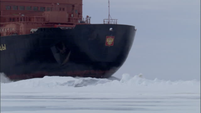 MS, Russian nuclear icebreaker traveling through frozen sea Russia