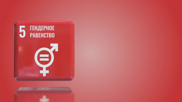 russian number 5 gender equality 3d box sustainability goals 2030 with copy space - gender equality stock videos & royalty-free footage