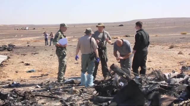 Russian officials inspect the crash site of Russian Airliner on the third day in Suez Egypt on November 01 2015 A Russian Airbus321 airliner with 224...