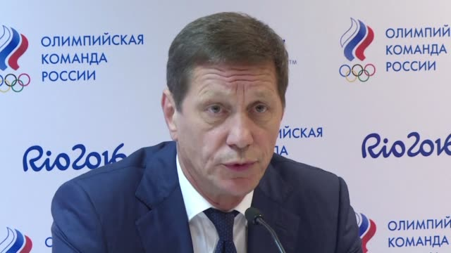 vídeos de stock, filmes e b-roll de russian olympic committee chief alexander zhukov says that 271 athletes from his country will take part in the rio games after clearing doping... - rio russian