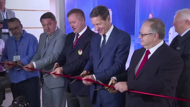 vídeos de stock, filmes e b-roll de russian olympics committee president alexander zhukov opens the country's cultural base ahead of the rio summer games where a former olympic gold... - rio russian
