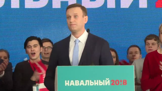 Russian opposition politician Alexei Navalny declares himself a candidate for 2018 elections after thousands of his supporters met in cities across...