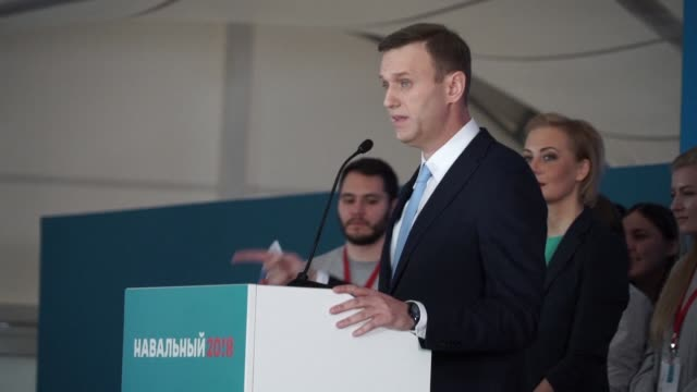 Russian opposition politician Alexei Navalny says next year's elections a fight for our future as he addresses his supporters at a rally where they...