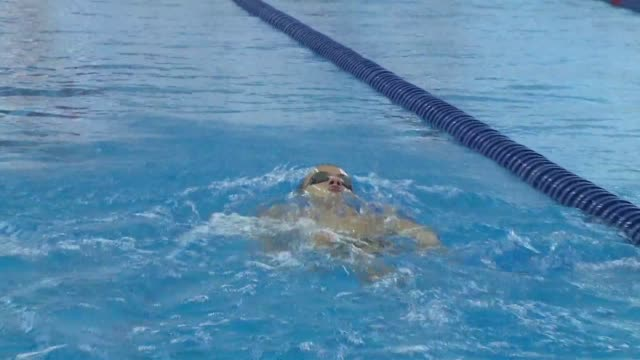 vídeos de stock, filmes e b-roll de russian paralympic hopeful alexander makarov a 19yearold backstroke specialist churns through 50 laps during his morning training session outside... - rio russian