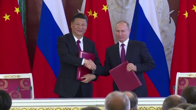 russian president vladimir putin and chinese leader xi jinping are calling for a simultaneous freeze on north korean nuclear and missile tests and... - peninsula stock videos and b-roll footage