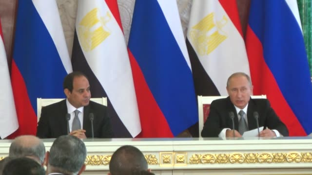 russian president vladimir putin and egyptian president abdel fattah elsisi hold a joint press conference following their meeting at the kremlin in... - president of egypt stock videos & royalty-free footage