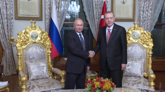 Russian President Vladimir Putin and Turkish President Recep Tayyip Erdogan hold a meeting at the Mabeyn presidential pavilion in Istanbul Turkey on...