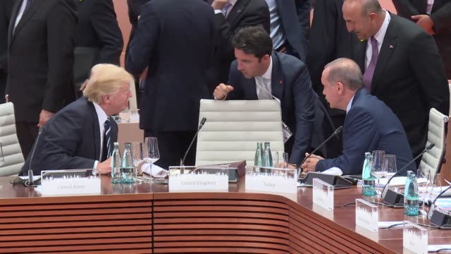 russian president vladimir putin and us president donald trump meets during g20 summit in hamburg germany on june 07 2017 - wladimir putin stock-videos und b-roll-filmmaterial