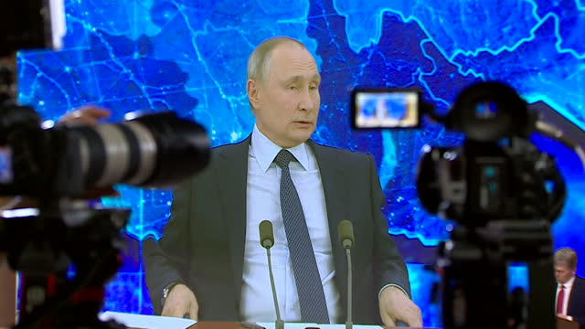 russian president vladimir putin, annual news conference, in moscow, held by video conferencing due to coronavirus pandemic - conference call stock videos & royalty-free footage