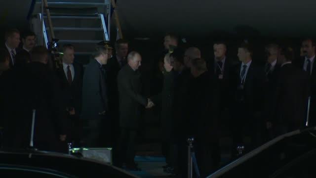 Russian President Vladimir Putin arrives at Esenboga International Airport in Ankara Turkey on December 11 2017