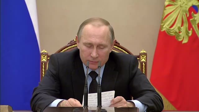 russian president vladimir putin holds a meeting with government members in the kremlin in moscow russia on march 16 2016 - vladimir russia stock videos and b-roll footage