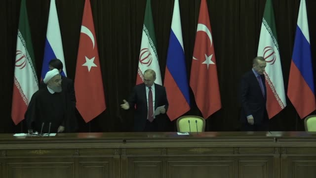 Russian President Vladimir Putin meets with Iran's President Hassan Rouhani and Turkish leader Recep Tayyip Erdogan at the Black Sea resort of Sochi