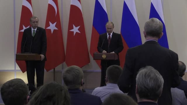 russian president vladimir putin pushes for de-escalation zones in syria saying both russia and turkey want to bolster the failed truce in the... - recep tayyip erdoğan stock videos & royalty-free footage