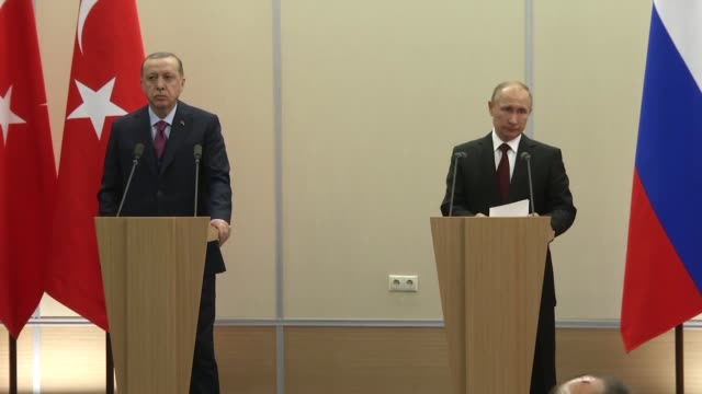 Russian President Vladimir Putin speaks at a joint press conference with his Turkish counterpart Recep Tayyip Erdogan following their meeting at the...