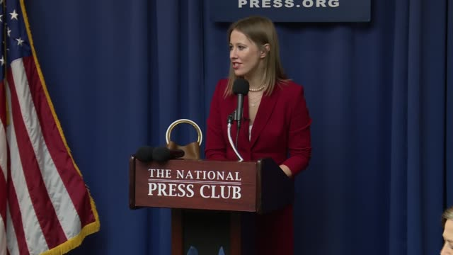 Russian presidential candidate and opponent of Vladimir Putin speaks at the National Press Club In bites she defends herself from anticipated attacks...
